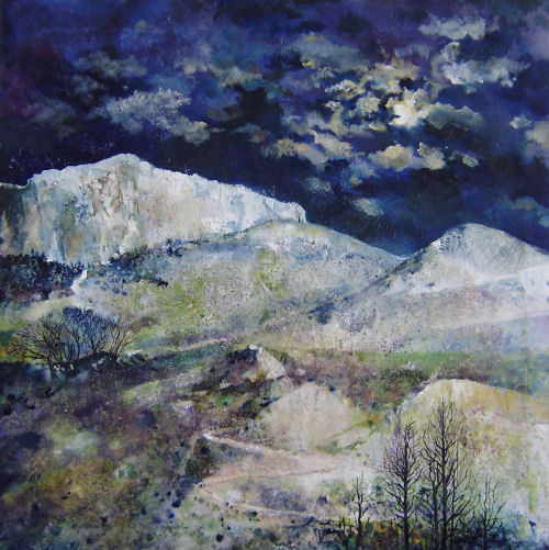 Winter Night, Parnassos, painting from Delphi Series, by Dor Duncan