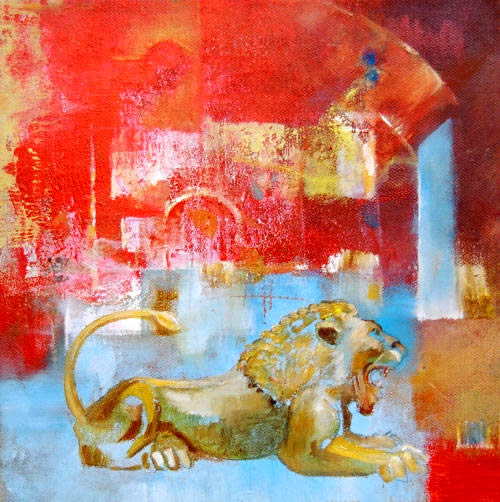 The Lion of Ur, oil on canvas, by Dor Duncan